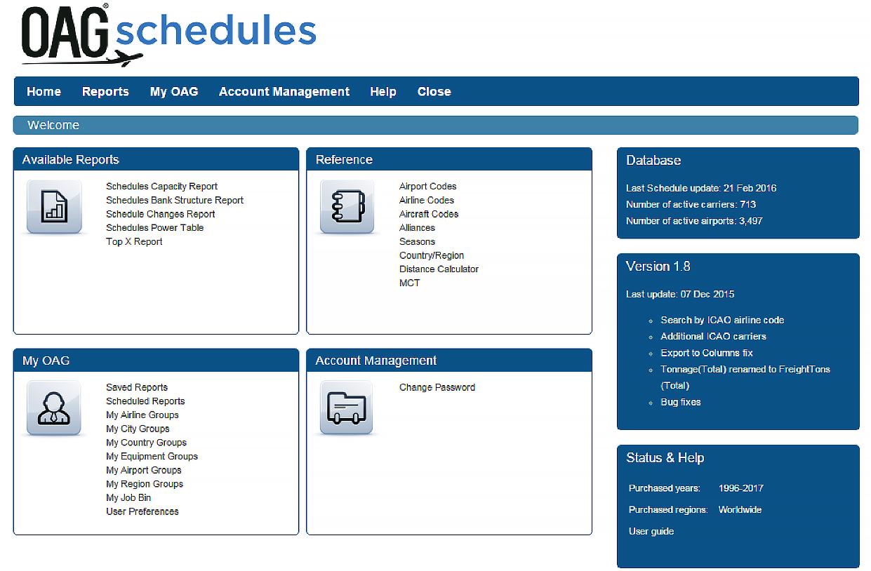Schedules Analyser Homepage